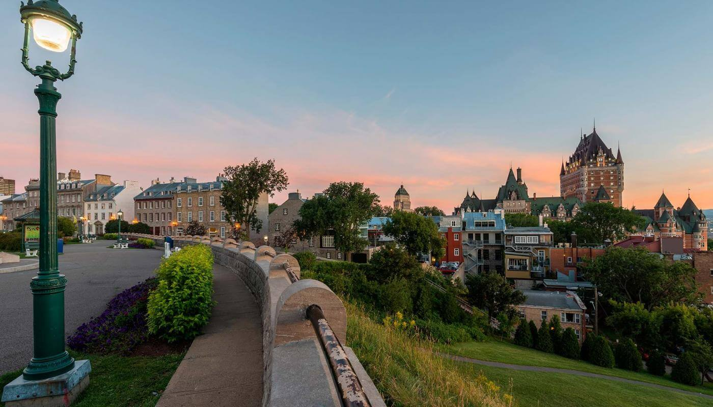 View of the Château Frontenac and avenue Saint-Denis at sunrise, from the Pierre-Dugua-De Mons terrace.