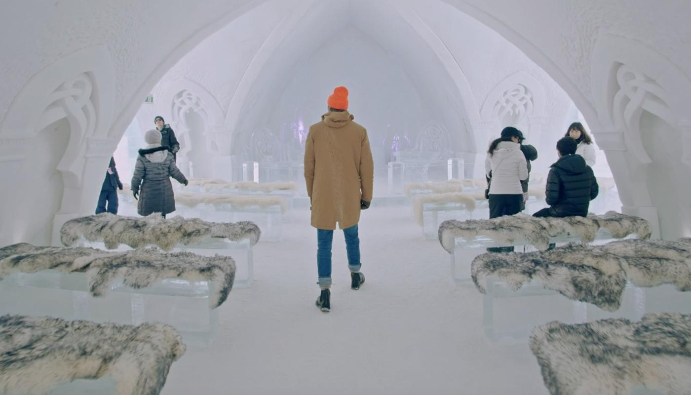 Timothy visits the Hôtel de Glace