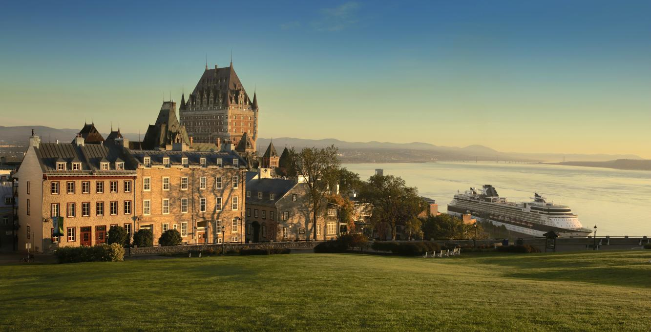View of Château Frontenac and the river with a cruise ship
