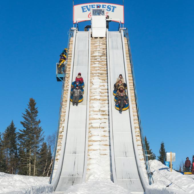 The Everest slide at the Village Vacances Valcartier winter games center.