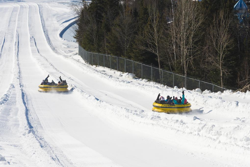 The Tornade slide at the Village Vacances Valcartier winter play center.