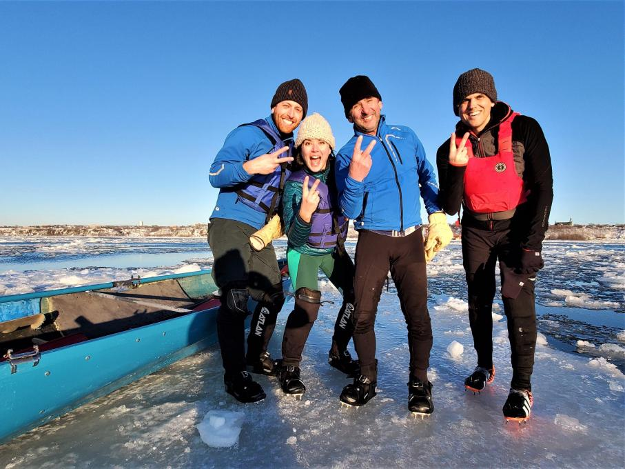 Ice Canoeing Experience - Team on ice