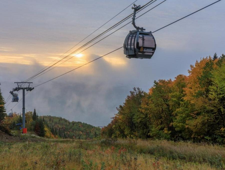 View of a cable car in the Massif de Charlevoix in the fall.