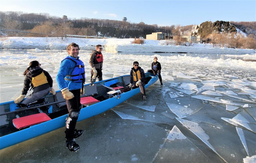 Ice Canoeing Experience - Canoe and team on the river