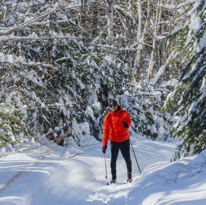 A skier is cross-country skiing on a snowy trail in the Portneuf Wildlife Reserve.