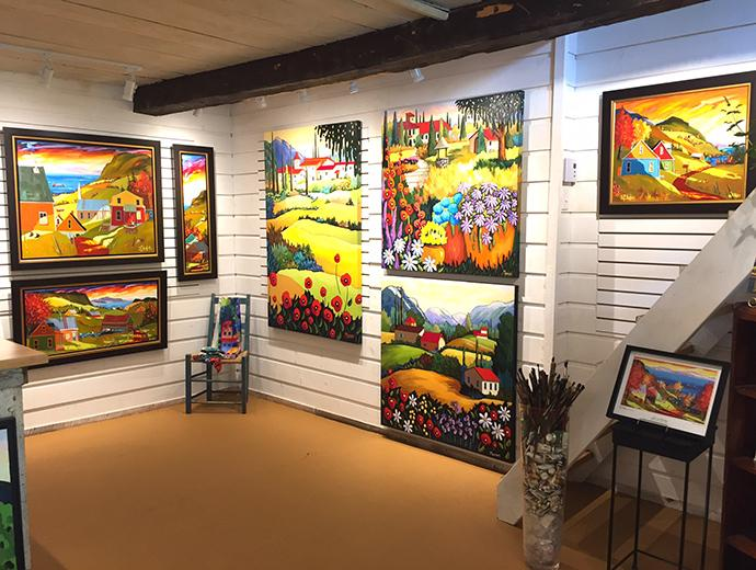Canvases inside the St-Aubin Marion Art Gallery