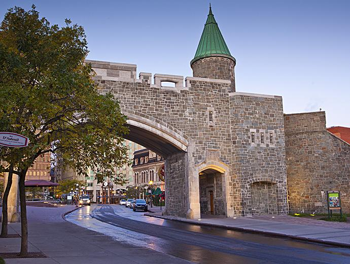 The Porte Saint-Jean which is part of the Fortifications of Québec National Historic Site, in summer.