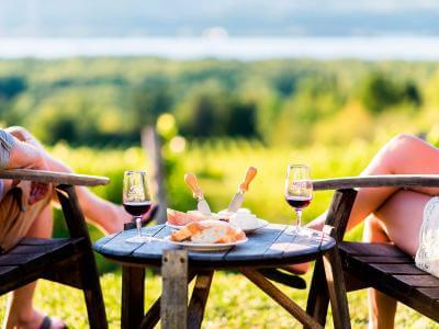 A couple discovers the regional products of the Ile d'Orléans while tasting wine and cheeses in a vineyard.