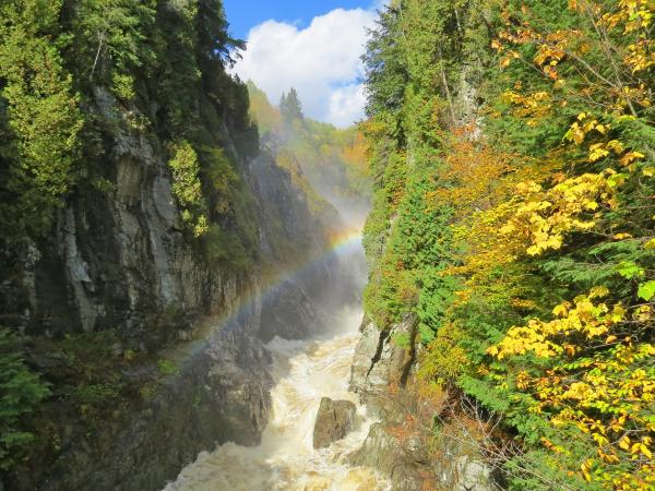 The river at the Canyon Sainte-Anne with a rainbow