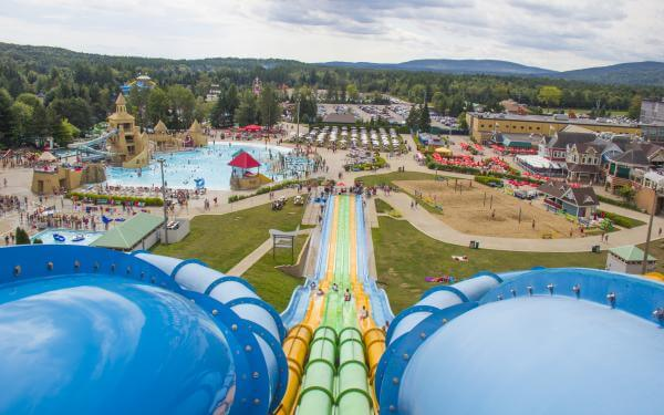 View of the outdoor water park of the Village Vacances Valcartier, from the top of the Turbo slide.