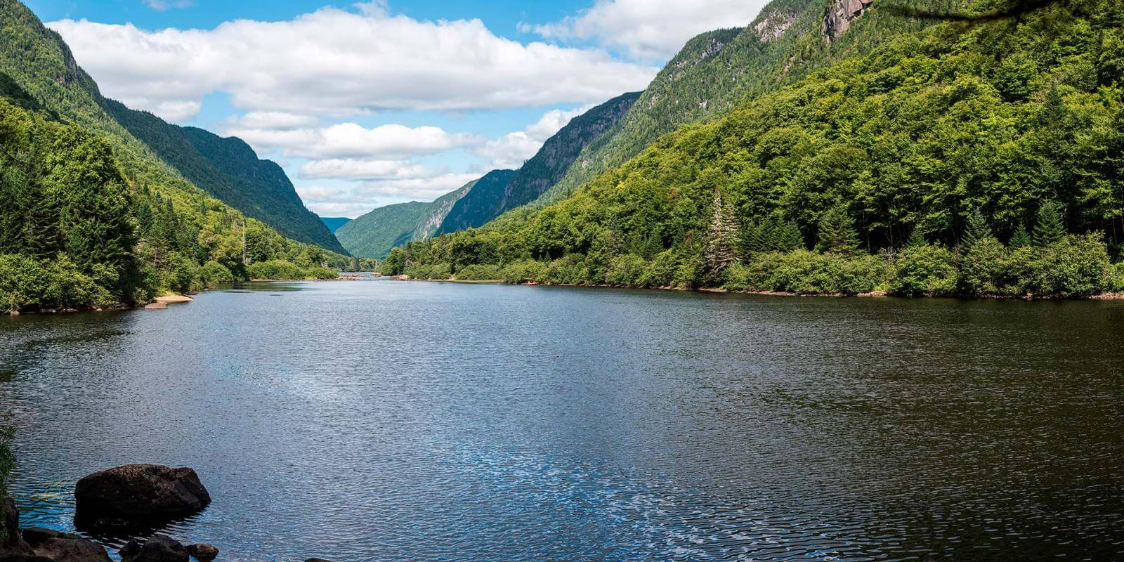 The Jacques-Cartier River, deep in the valley, in Jacques-Cartier National Park.