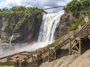 View of the waterfall and the stairs at Parc de la Chute-Montmorency.