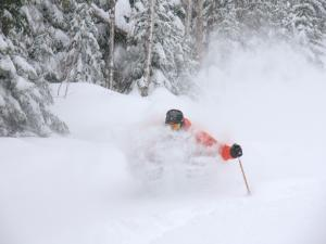 A skier makes a descent in powder snow at the Massif de Charlevoix.
