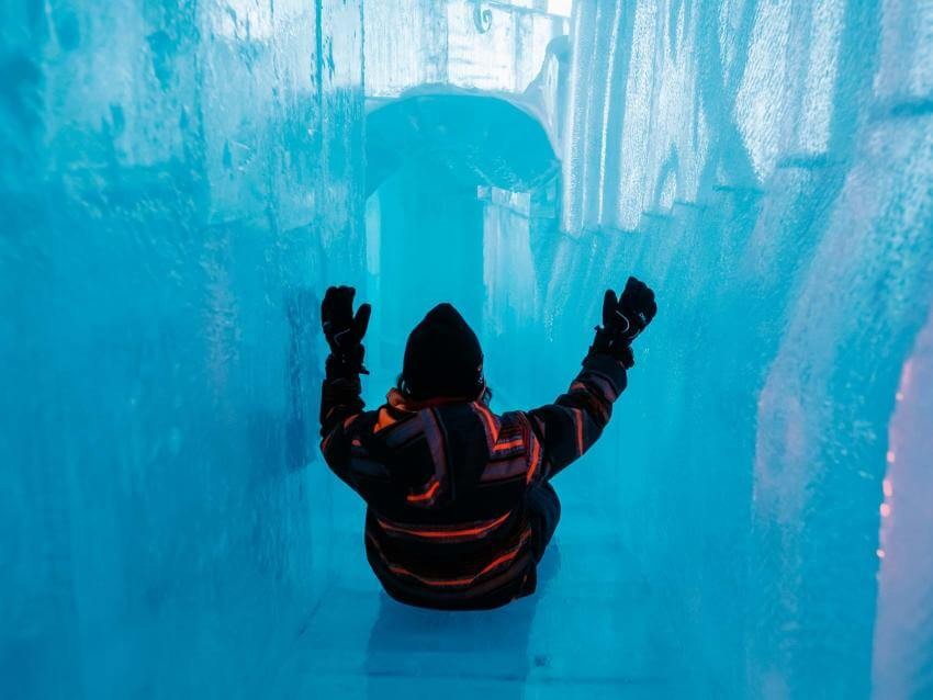 Child in the Ice Hotel slide