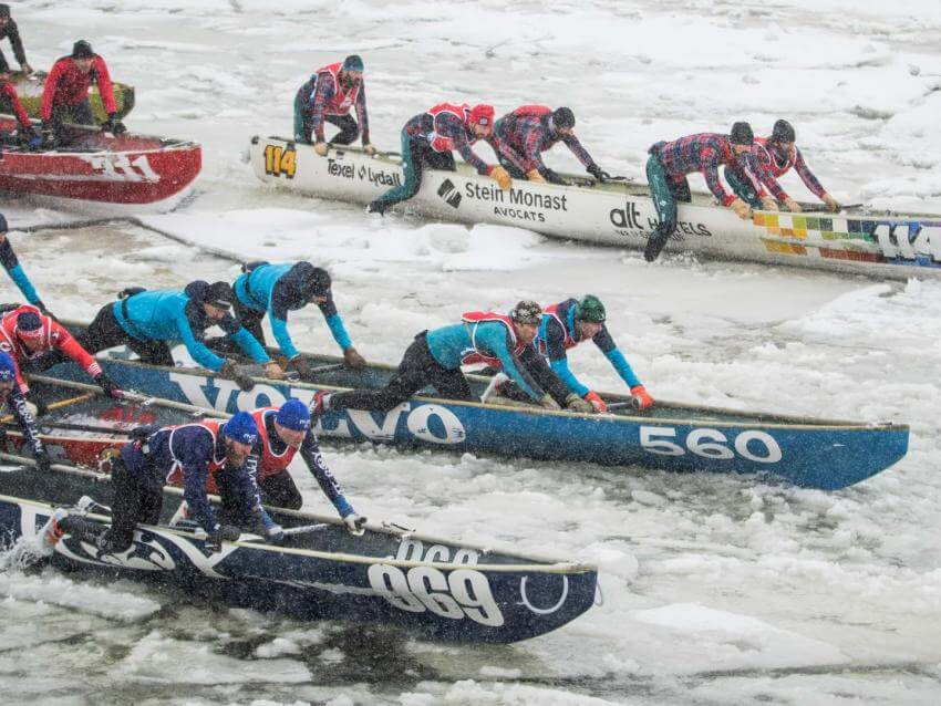 Ice Canoe Race at Quebec Winter Carnival