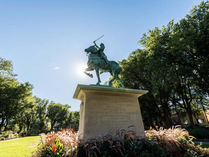 Bronze equestrian statue of Joan of Arc, in the heart of the Joan of Arc garden.