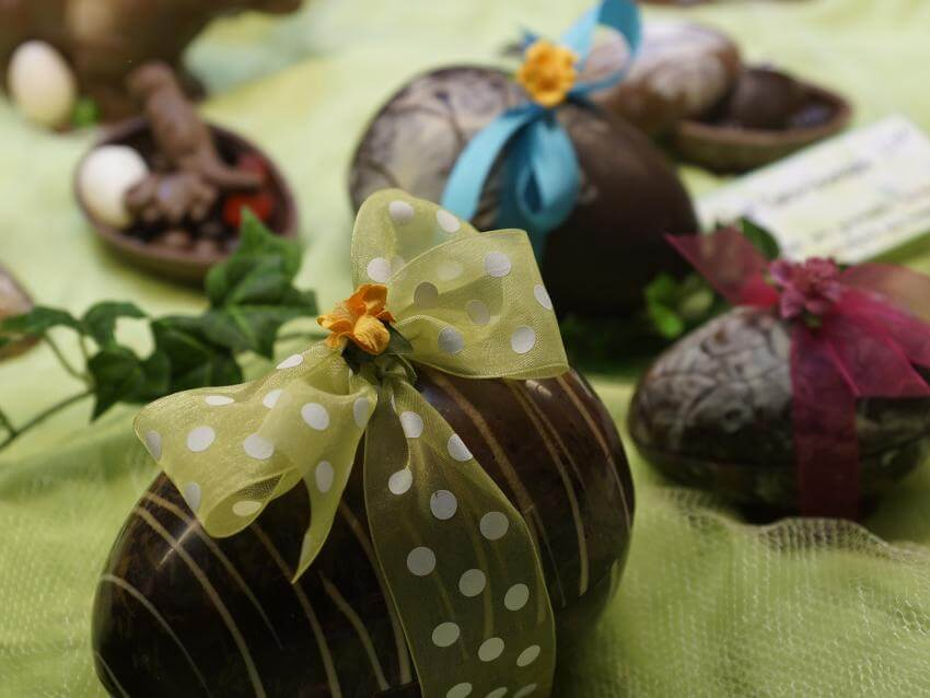 Chocolate eggs decorated for Easter