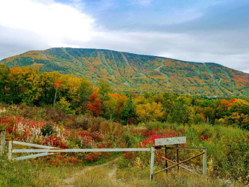 View of the Mont-Sainte-Anne mountain in autumn