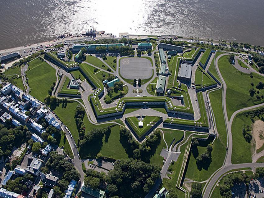 Aerial view of La Citadelle de Québec, near the St. Lawrence River, in summer.