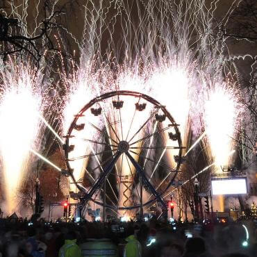 Ferris wheel and pyrotechnics on New Year's Day in Quebec City